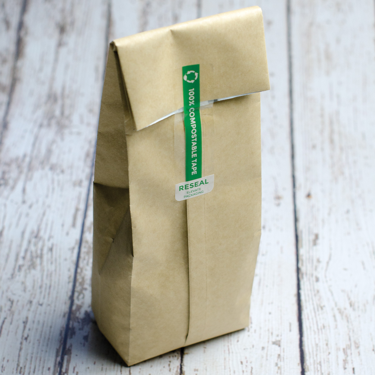 Compostable Coffee Bag with Compostable Reseal Tape